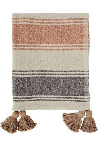 Madam Stoltz Plaid Striped Woven Throw W/Tassels Beige/Rose Saumon
