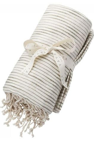 Yaya Home Handdoek Pure Cotton Hammam Towel With Fringes Groen