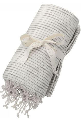 Yaya Home Handdoek Pure Cotton Hammam Towel With Fringes Middengrijs