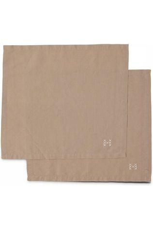 Yaya Home Textiel Accessoire Pack Of Two Napkins With Embroidery Lichtbruin
