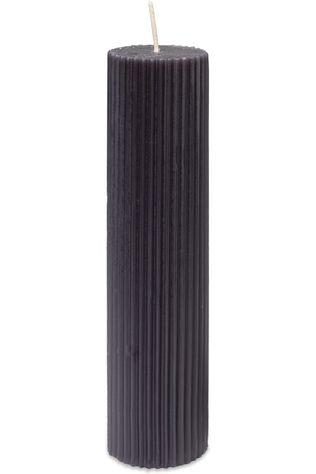 Yaya Home Kaars Large Ribbed Pillar Donkergrijs