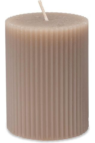 Yaya Home Kaars Small Ribbed Pillar Lichtgrijs