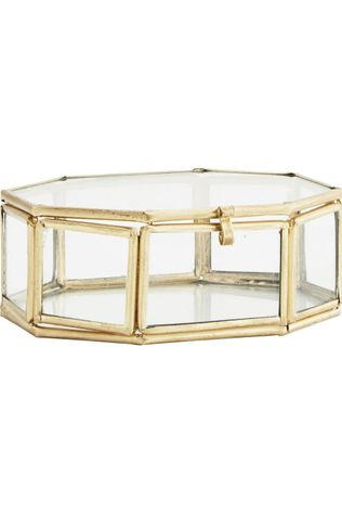 Madam Stoltz Kleine Opberger Octagonal Glass Box Goud