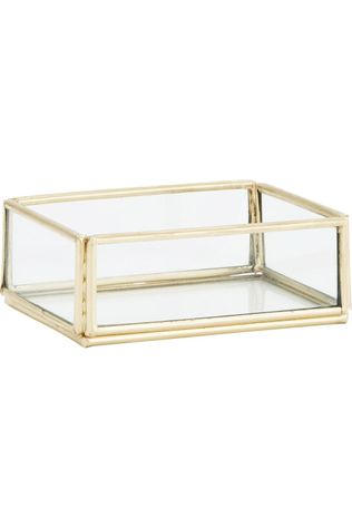 Madam Stoltz Kleine Opberger Rectangular Glass Tray Goud