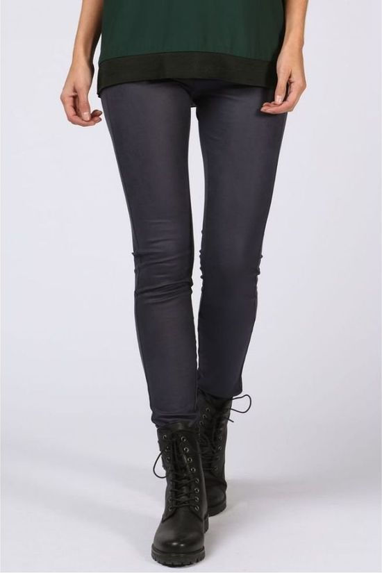 Yaya Legging Jersey Fake Leather Donkerblauw
