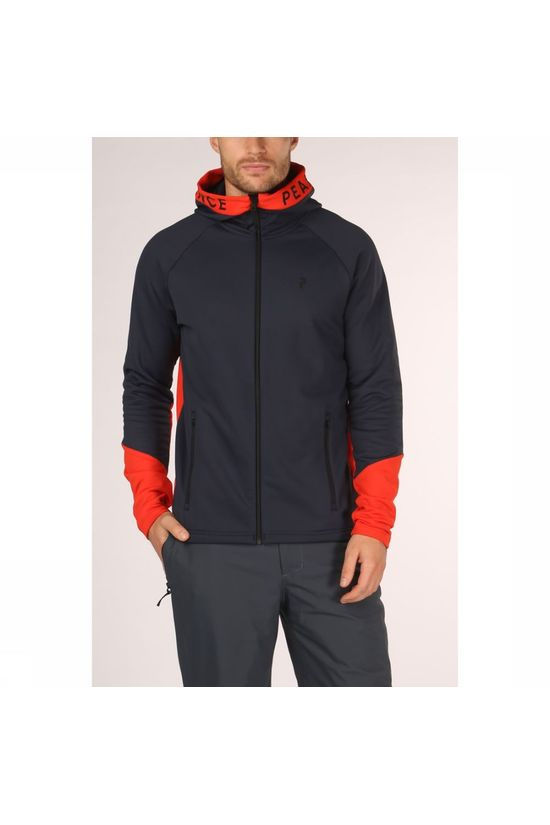 Peak Performance Fleece Ride Zip Hood Donkerblauw/Rood