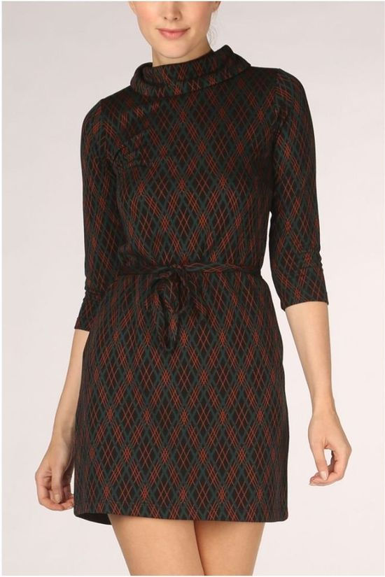 King Louie Robe Dita Argyle Noir/Rouille