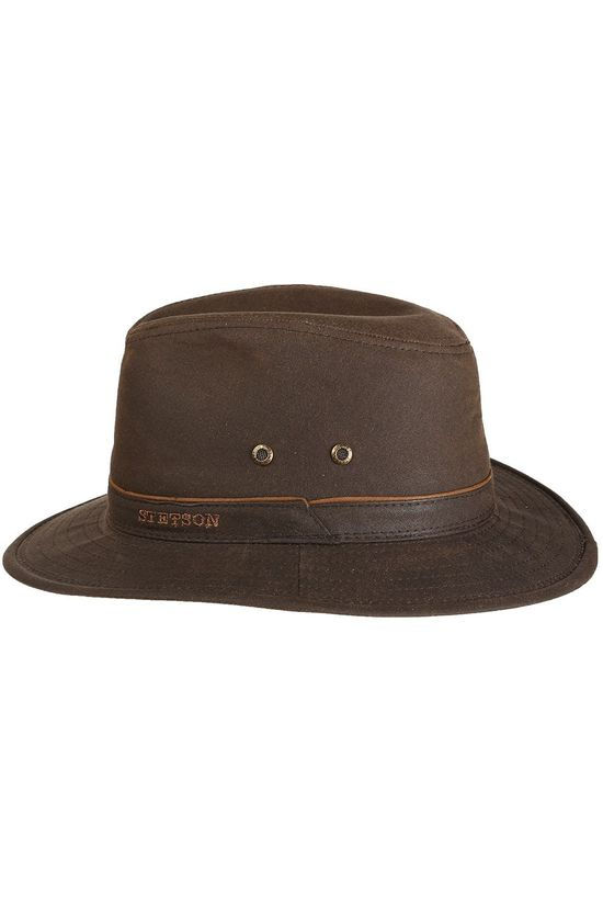 Stetson Hat Traveler Waxed Cotton dark brown