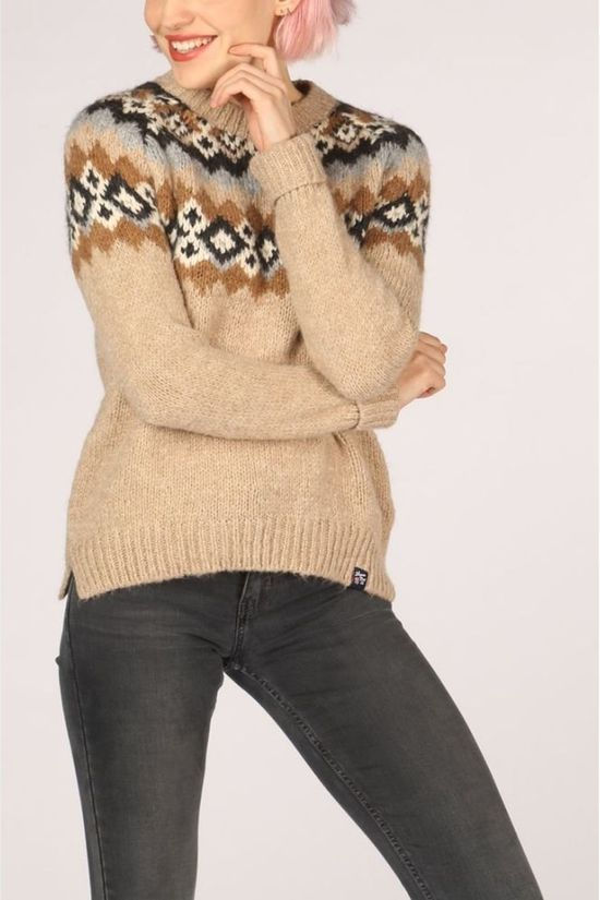 Superdry Pullover Savannah Yoke Jacquard Knit Sand Brown/Mid Brown
