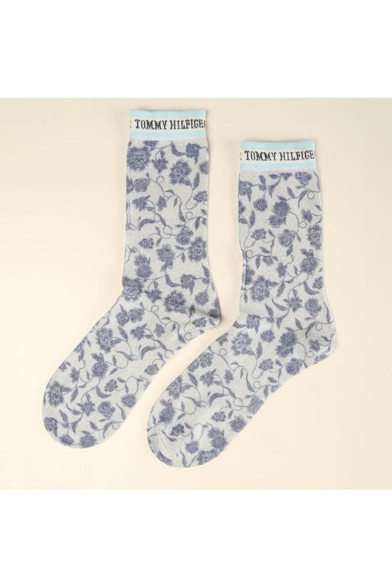 Tommy Hilfiger Socks Kous Flower Lurex Middengroen/Steen