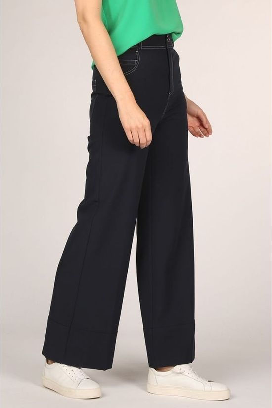 Maison Scotch Broek Wide Leg Contrast Stitching In Stretch Quality Marineblauw