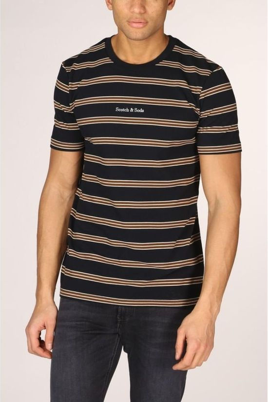 Scotch & Soda T-Shirt Colourful Striped Pique Crewneck dark blue/mid brown