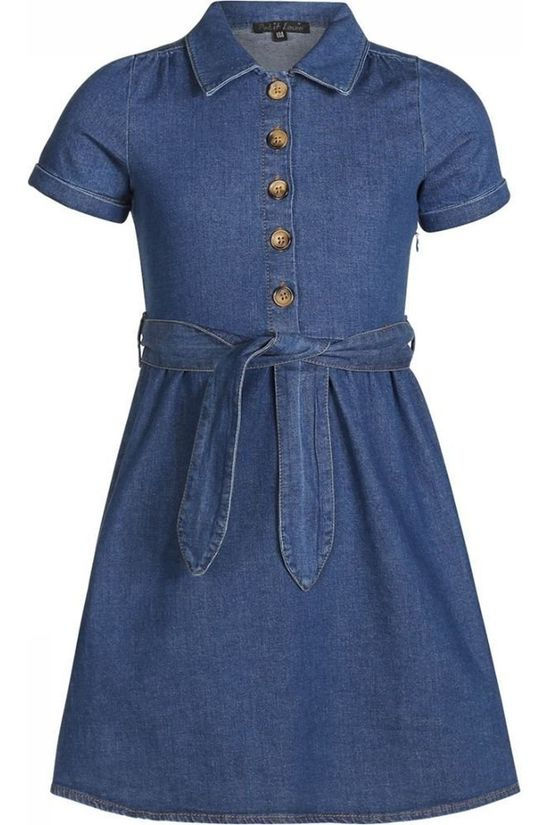 Petit Louie Dress Olive Chambray Denim / Jeans/Mid Blue (Jeans)