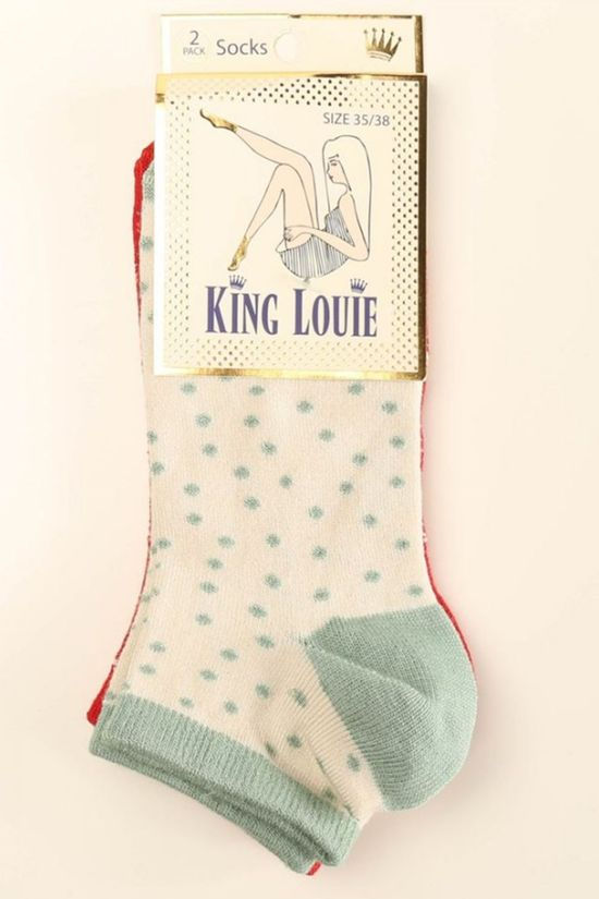 King Louie Sock Short 2-Pack Arcade mid red/off white