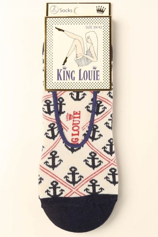 King Louie Sock Footie Harbour mid red/dark blue