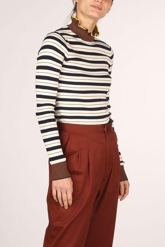 Maison Scotch Pullover 157101 Off White/Camel Brown
