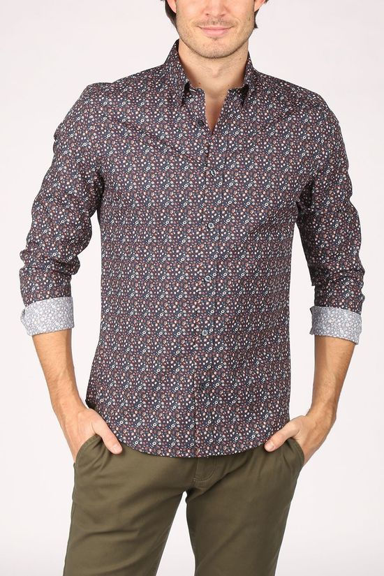 Ben Sherman Shirt 2002-Sh0061438 Dark Blue/Ass. Flower