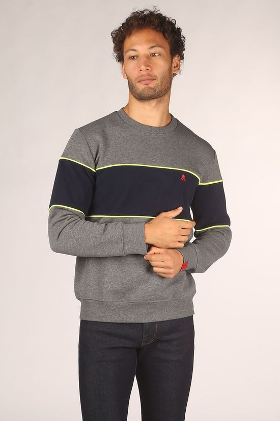 Antwrp Pullover 2002-Bsw009 Dark Grey Marle/Dark Blue