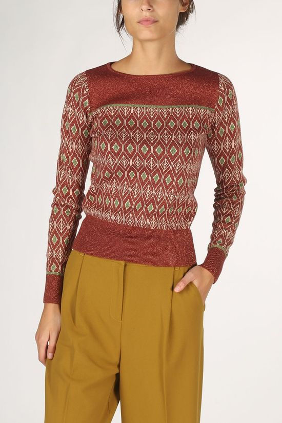 King Louie Pull Bella Knit Taboo Bordeaux / Marron/Vert