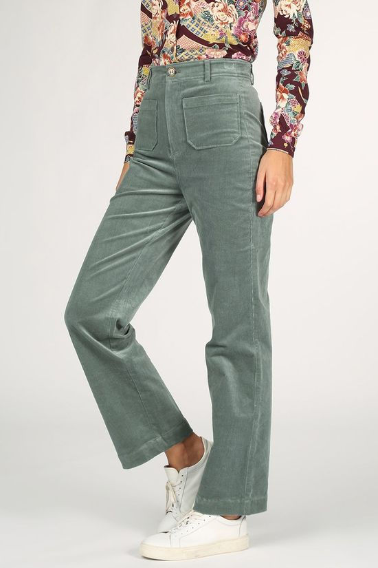 King Louie Pantalon Garbo Pocket Pants Corduroy Vert Moyen
