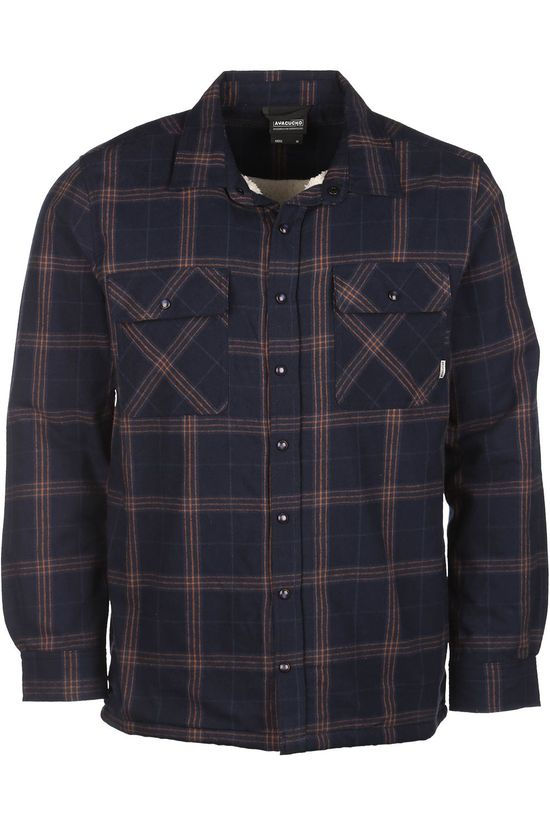 Ayacucho Shirt Flannel Padded Navy Blue/Camel Brown