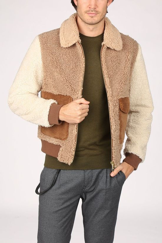 Scotch & Soda Coat Colourblock Sherpa Bomber Ecru/Sand Brown