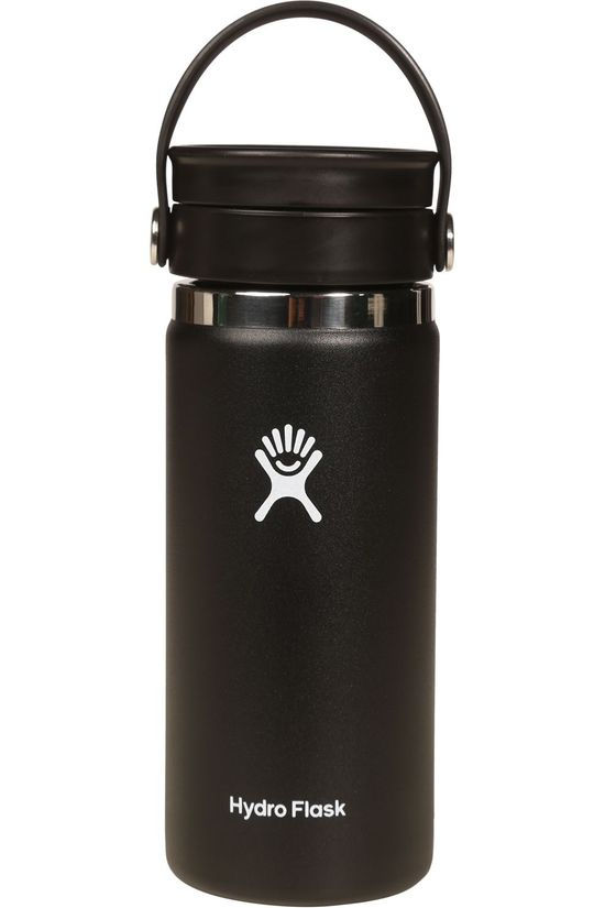 Hydro Flask Drinkfles 16Oz Wide Mouth Flex Sip Zwart