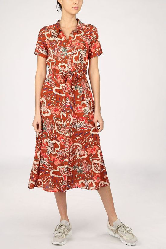 King Louie Dress Rosie Midi Lei rust/dark pink