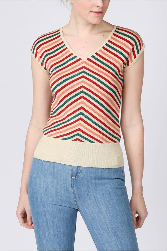 King Louie Pullover Deep V Cabana Stripe vanille/light pink