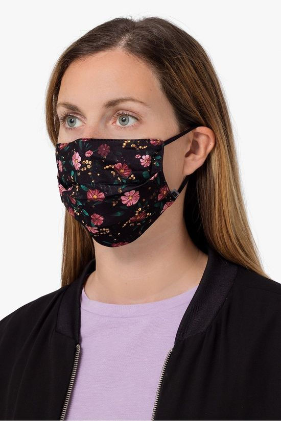 Wouf FACE MASK WOU BLACK FLOWERS MASK black/mid pink