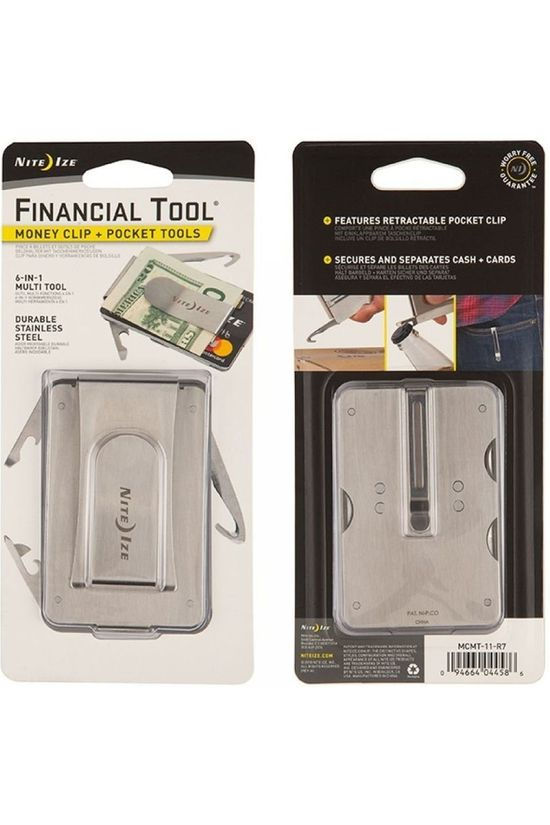 Nite Ize MULTITOOL FINANCIAL TOOL MONEY CLIP+POCKET TOOLS silver