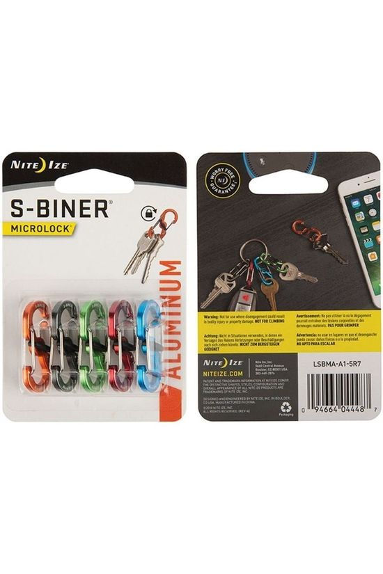 Nite Ize Carabiner S-Biner Microlock Aluminium 5-Pack Assorted / Mixed