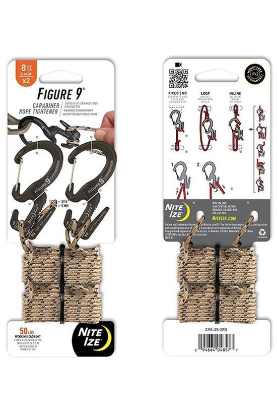 Nite Ize Carabiner Figure 9 Carabiner Small 2-Pack With 8Ft Paracord black