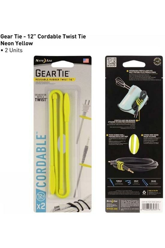 "Nite Ize Gear Tie Cordable 12"" - 1 Pcs yellow"