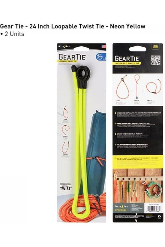 Nite Ize Gear Tie Loopable Twist Tie 24 In. 2-Pack Jaune Clair