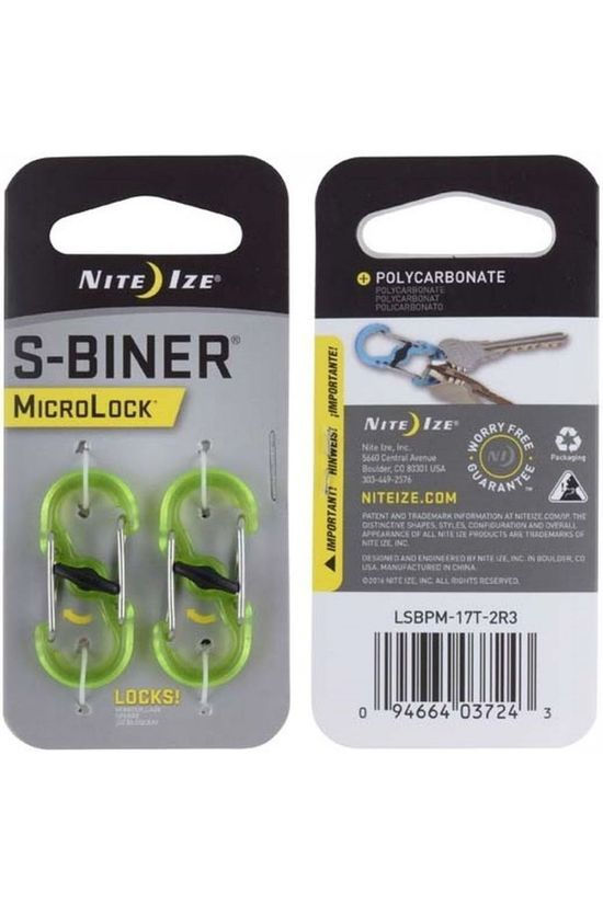 Nite Ize Microlock S Biner Polycarbonate 2 Pack Smoke Lime Green