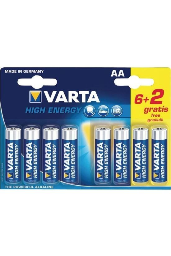 Varta Battery AA 6+2-Pack Longlife Power No colour / Transparent
