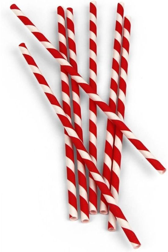 Kikkerland Gadget Red Stripe Paper Straws mid red/white