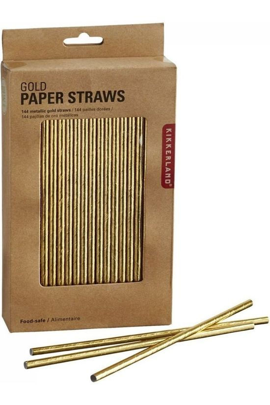 Kikkerland Paper Straws Gold Or