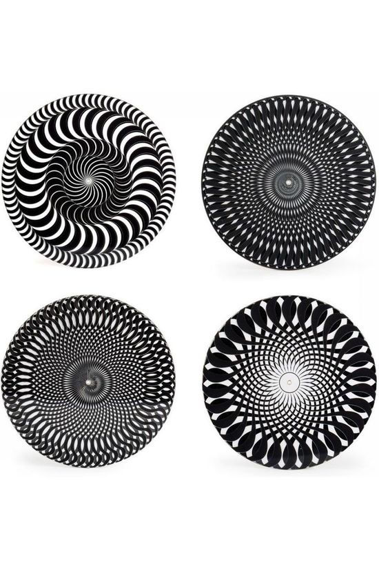 Kikkerland Gadget Black And White Moire Coasters Zwart/Wit