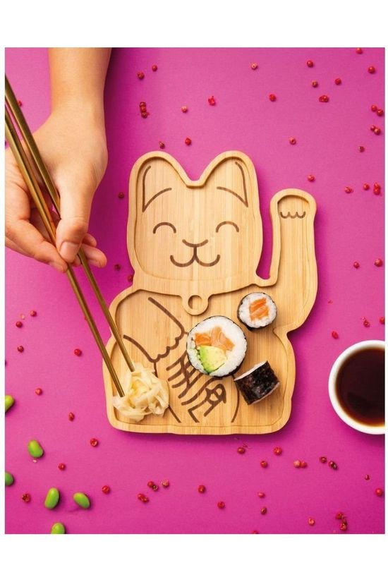 Donkey Gadget Lucky Cat Bamboo Plate mid brown
