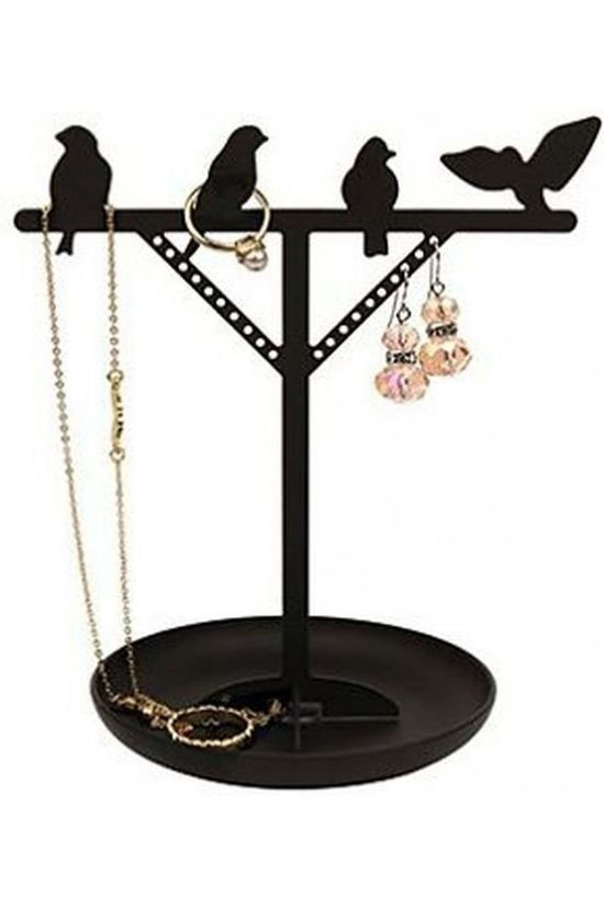 Kikkerland Gadget Bird Is The Word Jewelry Stand black