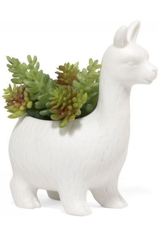Kikkerland Cache-Pot Lloyd The Llama Planter Blanc
