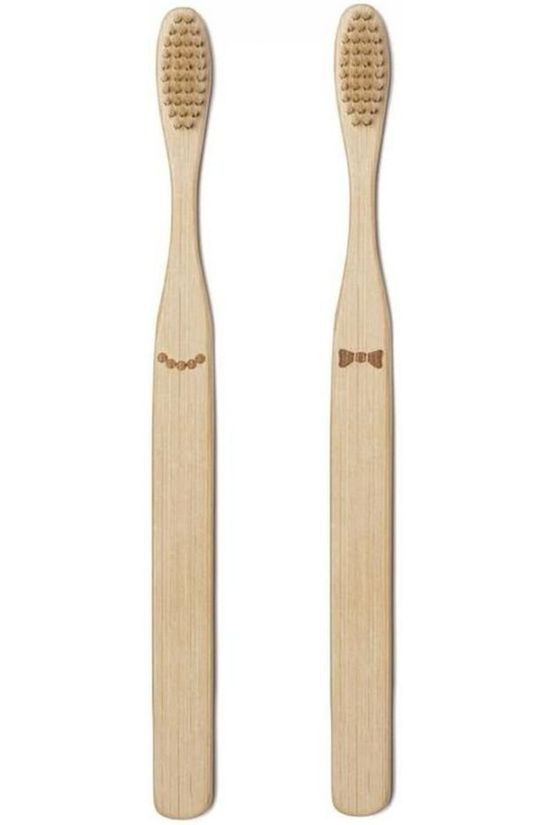 Kikkerland His And Her Bamboo Toothbrush Set light brown