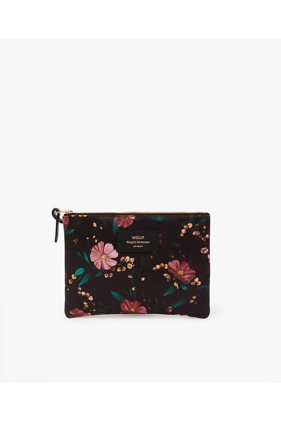 Wouf Black Flowers Large Pouch Black/Ass. Flower