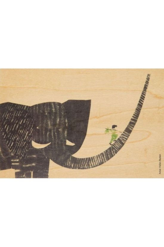 Woodhi Gadget Postcard Boy On Elephant Lichtbruin/Assorti / Gemengd