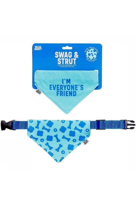 Wild and Woofy Gadget Dog Reversible Bandana light blue/mid blue