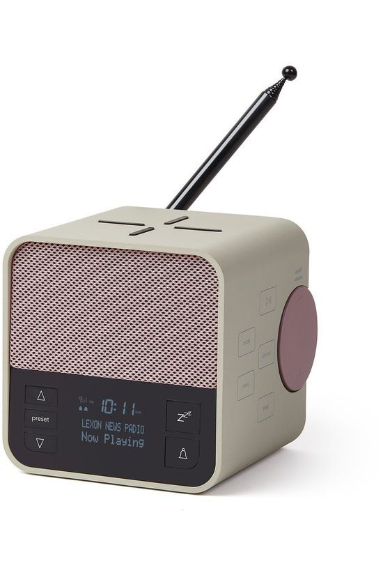 Lexon Speaker Oslo News Clock Radio-Charger-Speaker light grey/mid khaki