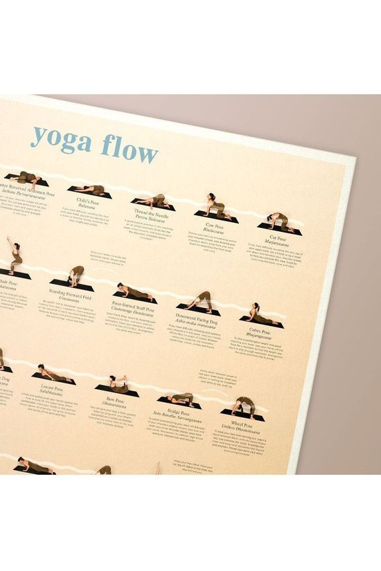 Calm Club Gadget Yoga Flow Chart Wall Art Brun Sable/Blanc