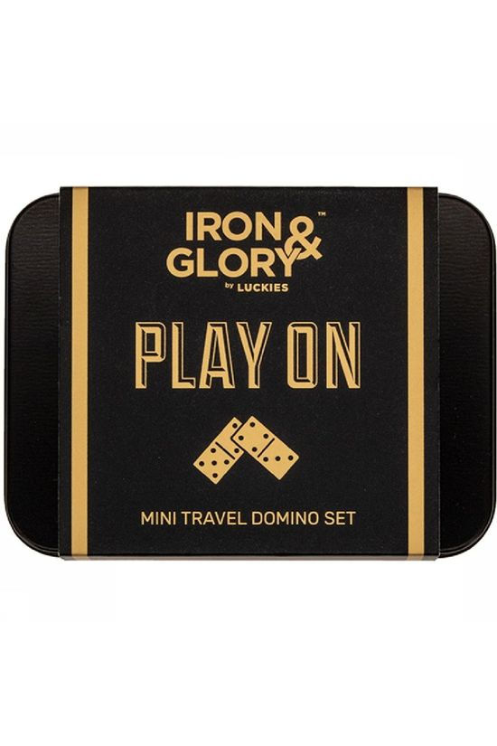 Iron & Glory Jeu Play On Mini Travel Domino Set Argent/Noir
